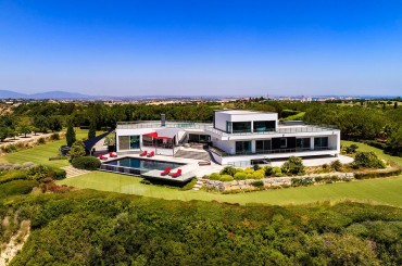 Aerial of large villa in Luz Algarve