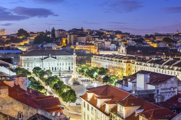 Aerial of central Lisbon Portugal