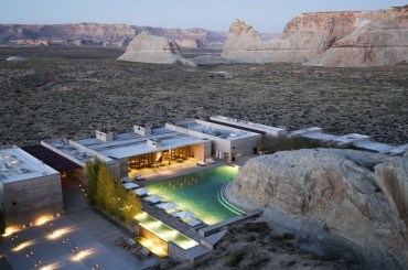 Aerial of Amangiri luxury resort hotel in Canyon Point Utah