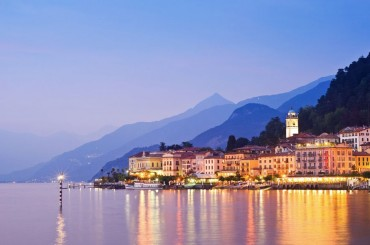 Bellagio On Lake Como In Italy seen from the Lake in the early evening